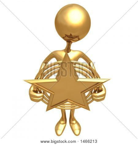 Holding A Gold Star Award
