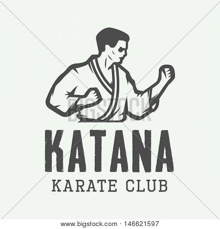 Vintage karate or martial arts logo emblem badge label and design elements. Vector illustration