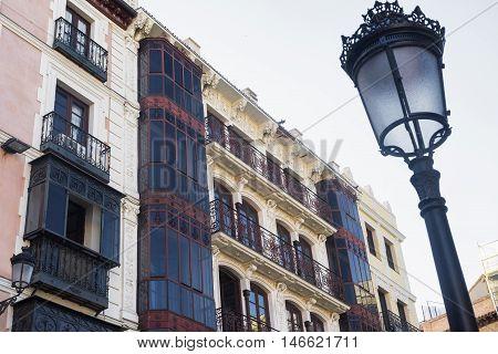 Toledo (Castilla-La Mancha Spain): facade of historic building with balconies and verandas in the Zocodover square