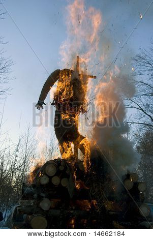 Mardi Gras Winter Effigy In Spring Fire