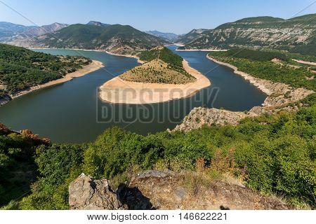 Panorama of Arda River meander  and Kardzhali Reservoir, Bulgaria