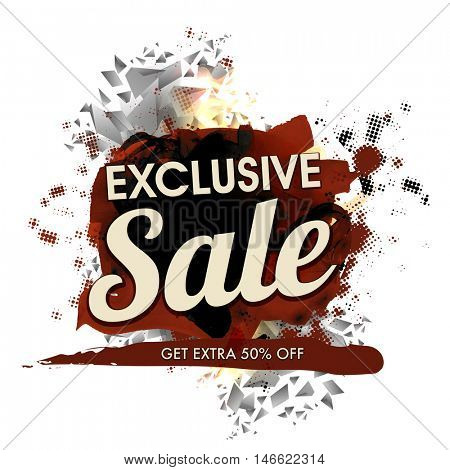 Exclusive Sale Poster, Sale Banner, Flyer design, Extra 50% Discount Offer, Abstract typographical background, Creative vector illustration.