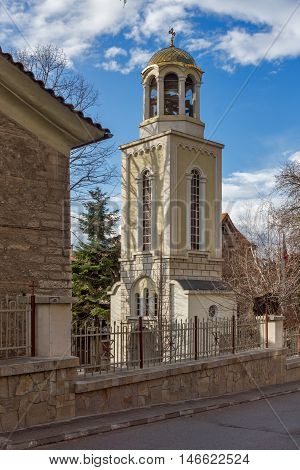 Bell tower of The Fish Church, St. Mary the Annunciation, Asenovgrad,  Plovdiv Region, Bulgaria