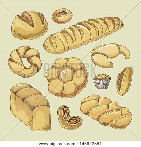 Bakery and pastry products icons set with various sorts of bread, sweet buns, cupcakes, dough and cakes for bakery shop or food design