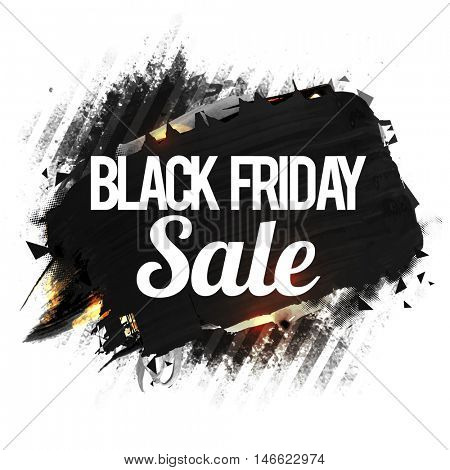 Black Friday Sale Poster, Banner or Flyer design, Creative abstract sale background with watercolor brush strokes, Vector illustration.