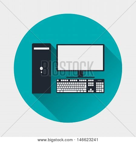 computer icon. PC symbol. Flat style with soft long shadow. Vector illustration