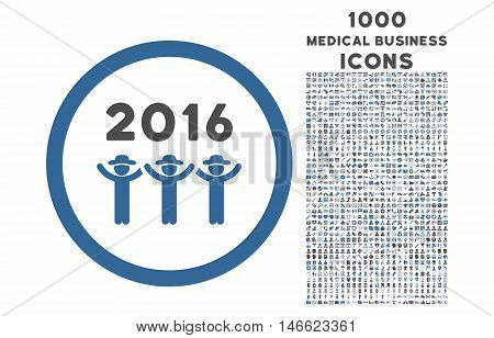 2016 Guys Dance rounded glyph bicolor icon with 1000 medical business icons. Set style is flat pictograms, cobalt and gray colors, white background.