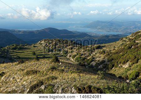 Amazing Panorama of Mountain of Lefkada, Ionian Islands, Greece