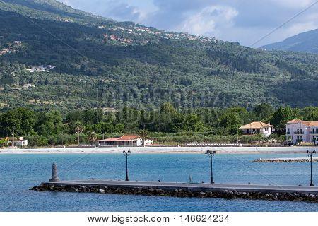 Panoramic view of Mountain of Lefkada and village of Vasiliki, Ionian Islands, Greece