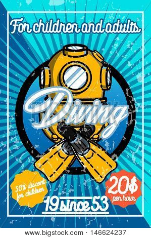 Color vintage diving poster. For diving club and underwater swimming