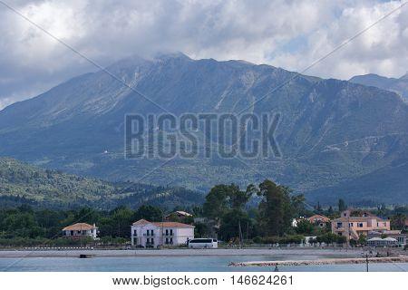 Panorama of Mountain of Lefkada and village of Vasiliki, Ionian Islands, Greece