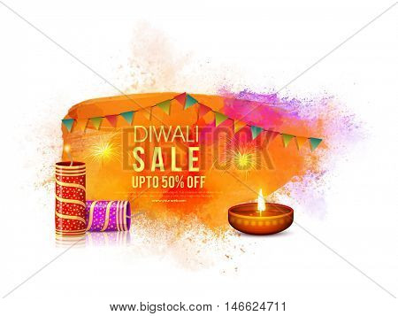 Diwali Sale Banner, Sale and Discount Flyer, Special Offer Poster, Upto 50% Off for Indian Festival of Lights celebration.