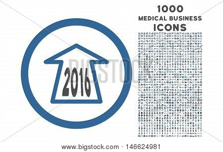 2016 Ahead Arrow rounded vector bicolor icon with 1000 medical business icons. Set style is flat pictograms, cobalt and gray colors, white background.