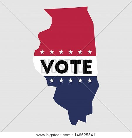 Vote Illinois State Map Outline. Patriotic Design Element To Encourage Voting In Presidential Electi