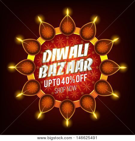 Diwali Bazaar Banner, Creative Sale Flyer, Sale and Discount Poster, Upto 40% Off, Beautiful glowing background with illuminated oil lamps (Diya), Indian Festival of Lights celebration concept.