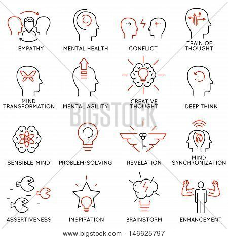 Vector set of 16 linear thin icons related to striving for success leadership development career progress and personal training. Mono line pictograms and infographics design elements - part 8