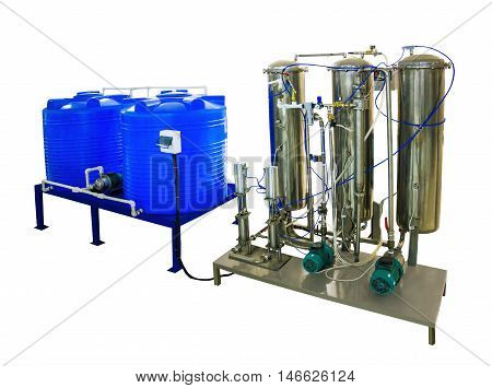 Blend coupage tank and mixer carbonator (saturator) for water and beverages in food processing industry isolated on white background