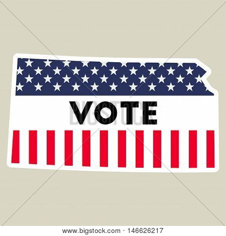 Usa Presidential Election 2016 Vote Sticker. Kansas State Map Outline With Us Flag. Vote Sticker Vec