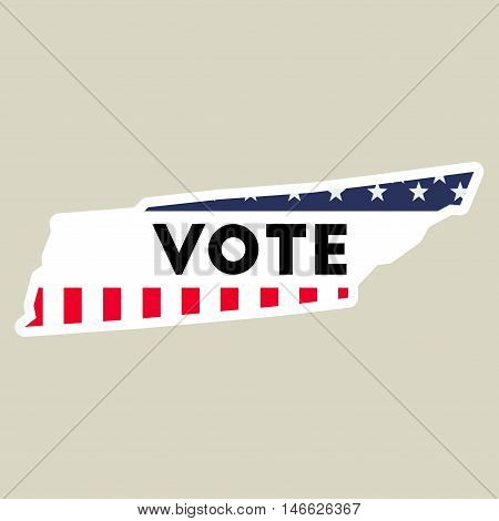 Usa Presidential Election 2016 Vote Sticker. Tennessee State Map Outline With Us Flag. Vote Sticker
