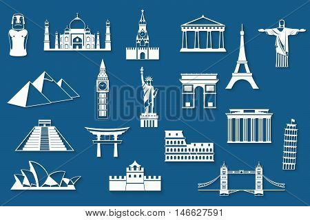 World landmarks abstract flat icons set - Big Ben, Brandenburg Gate, Cheops Pyramid, Christ Redeemer, Colosseum, Eiffel, Great Wall, Kremlin, Pisa, Moai, Parthenon, Sydney Opera, Taj Mahal, Statue of Liberty, Torii