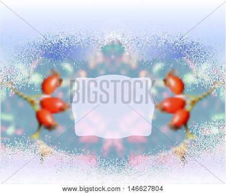 Winter frozen blurred background with rosehips. Blue and white background with snow and red rosehips