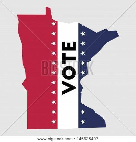 Vote Minnesota State Map Outline. Patriotic Design Element To Encourage Voting In Presidential Elect
