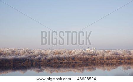 Church, monastery, winter, sky, river, freedom, nature, Christianity, monastery
