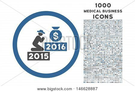 Pray for Money 2016 rounded vector bicolor icon with 1000 medical business icons. Set style is flat pictograms, cobalt and gray colors, white background.