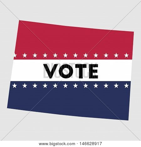 Vote Colorado State Map Outline. Patriotic Design Element To Encourage Voting In Presidential Electi