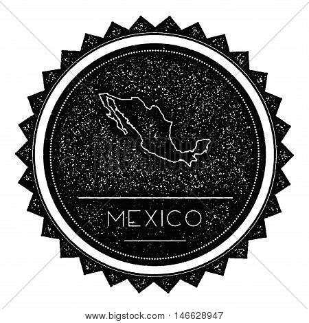 Mexico Map Label With Retro Vintage Styled Design. Hipster Grungy Mexico Map Insignia Vector Illustr
