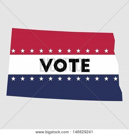 Vote North Dakota State Map Outline. Patriotic Design Element To Encourage Voting In Presidential El