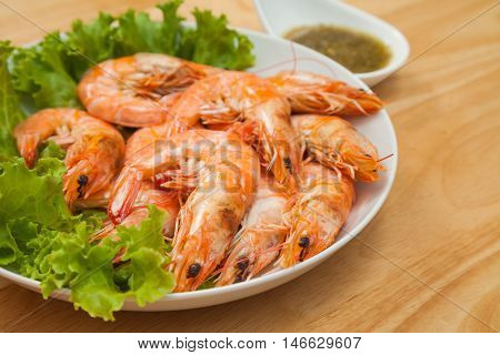 Baked Salted Prawns is sea food for appetizer or meal time