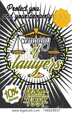 Color vintage lawyer poster. Law office logo. Law firm logo template. Vector illustration, EPS 10