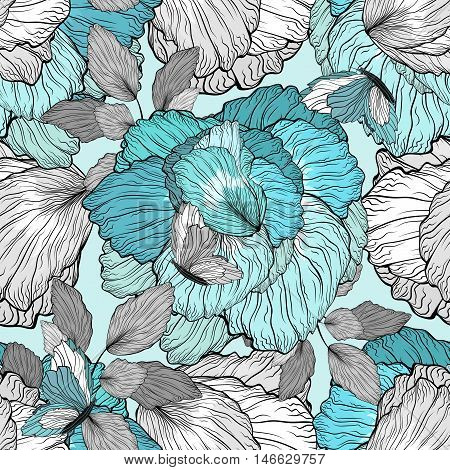 Floral Seamless Ornament Beauty Pattern Background With Flowers And Butterflies