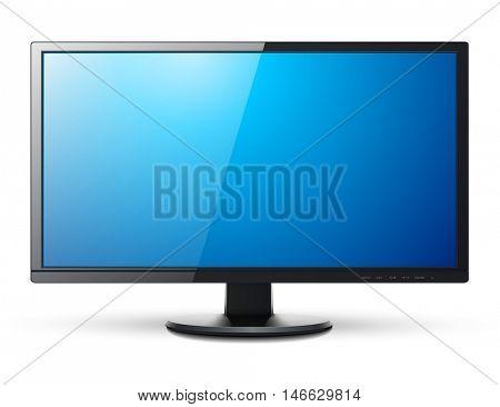 Monitor TV 3D icon, vector illustration.