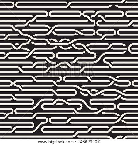 Vector Seamless Black and White Irregular Horizontal Braid Lines Pattern. Abstract Geometric Background Design