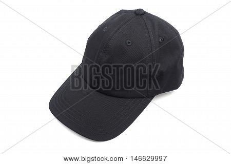 black hat or head wear on white background.