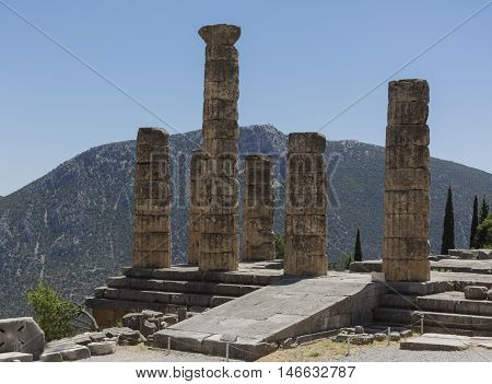 Ancient temple of Apollo at Delphi is in the mountains the day Greece nobody