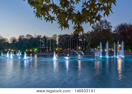 Amazing Sunset over Singing Fountains in City of Plovdiv, Bulgaria Tsar Simeon Garden