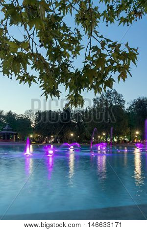 Sunset view Singing Fountains in City of Plovdiv, Bulgaria Tsar Simeon Garden
