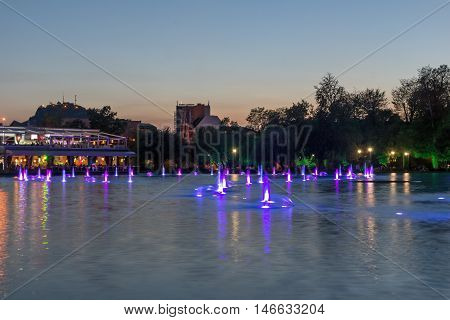 Sunset Panorama of Singing Fountains in City of Plovdiv, Bulgaria Tsar Simeon Garden