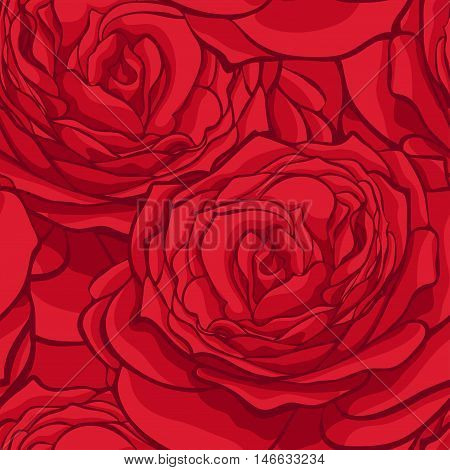 beautiful seamless pattern in red roses with contours. Hand-drawn contour lines and strokes. Perfect for background greeting cards and invitations to the day of the wedding birthday Valentine's Day