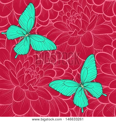 Beautiful seamless background with butterflies and dahlias. Hand-drawn contour lines. Perfect for background greeting cards and invitations of the wedding birthday Valentine's Day