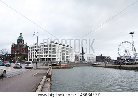 Helsinki, Finland - 21 December 2015: The Orthodox Cathedral And Ferris Wheel In Helsinki Harbor
