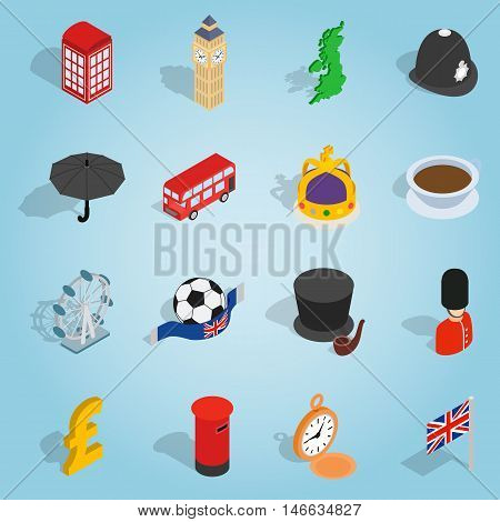 Isometric britain icons set. Universal britain icons to use for web and mobile UI, set of basic britain elements vector illustration