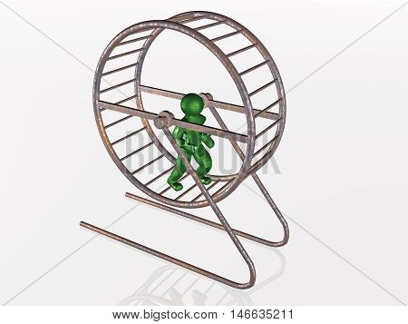 Man in the squirrel cage on white background, 3D illustration.