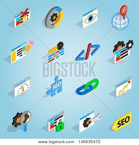 poster of Isometric seo set icons. Universal seo icons to use for web and mobile UI, set of basic seo elements vector illustration