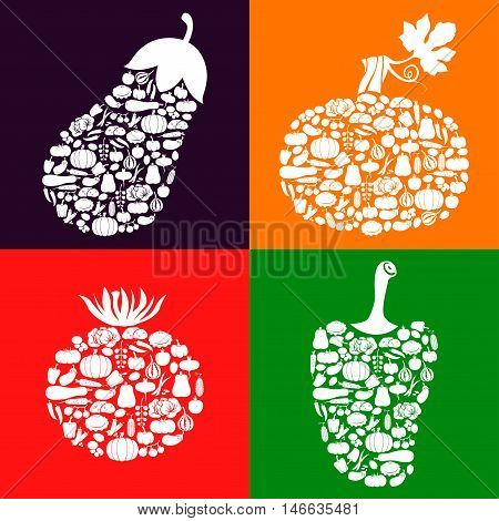 Vector illustrations of vegetables icon of vegetables set on color background. Squash tomato eggplant and pepper