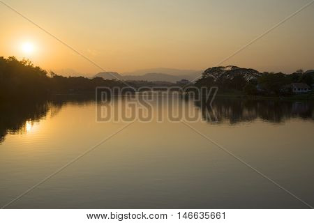 Evening on the river Kok in Chiang Rai surroundings. Northern Thailand