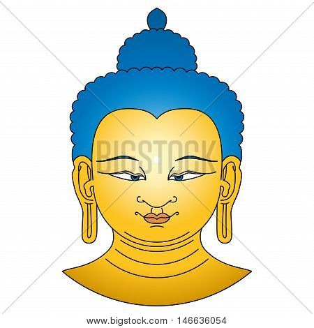 Gold colored Buddha head with blue hairs. Bodhisattva illustration on white background. Urna, the circular white dot between the eyebrows symbolizes the third eye and vision into the divine world.